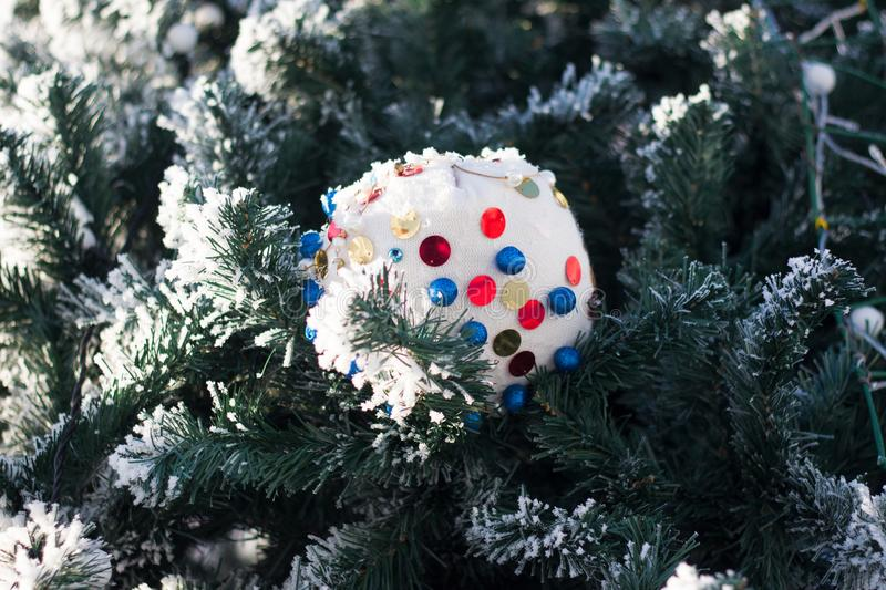 Christmas tree toy on fir royalty free stock photos