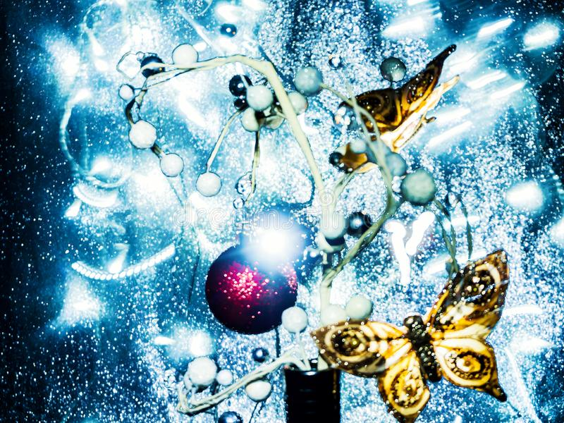 Christmas tree toys with blurred, sparkling and abstract background stock images