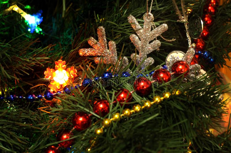 Christmas tree with toys royalty free stock photo