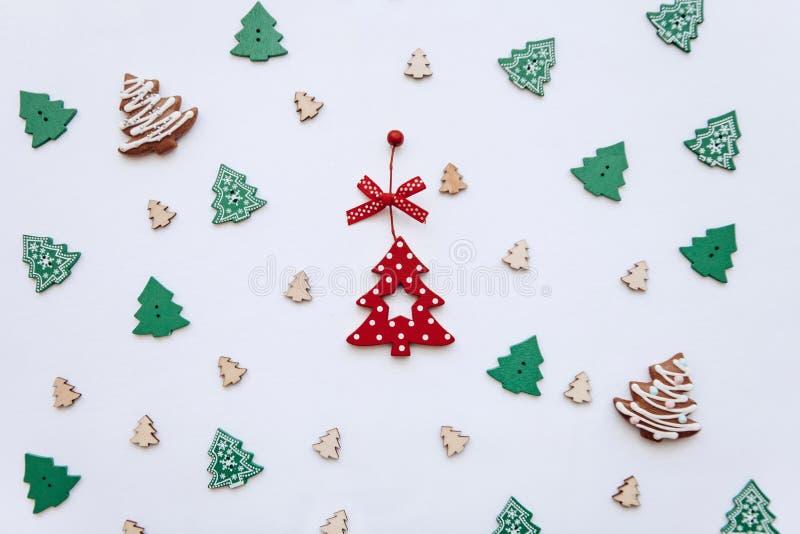Christmas tree toys. Festive decorated background. royalty free stock image