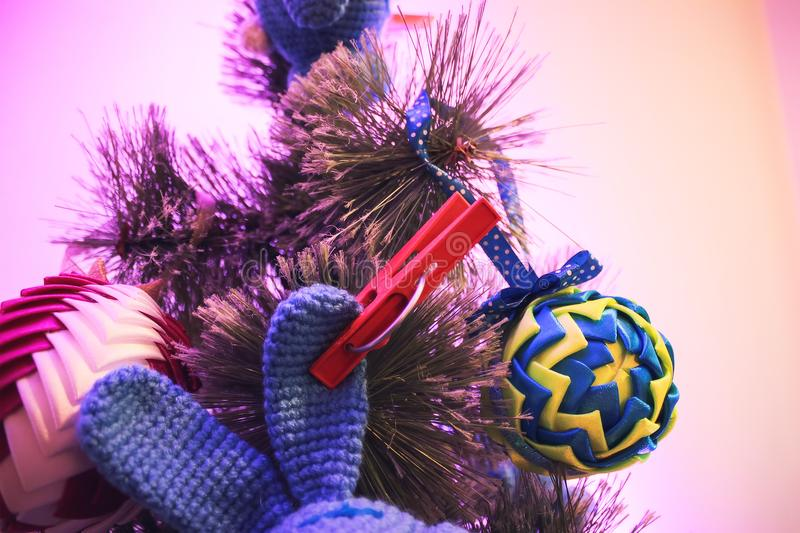 Christmas tree with toys for a happy new year royalty free stock images