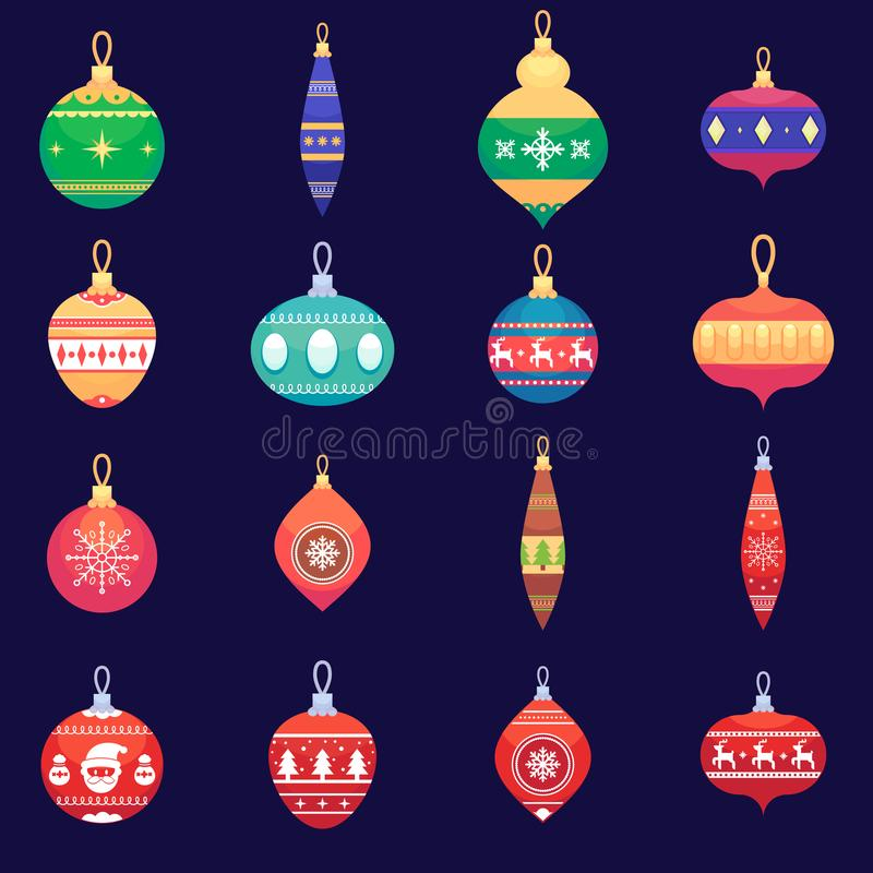 Christmas tree toys new year xmas balls set Vector colorful illustration in flat style royalty free illustration