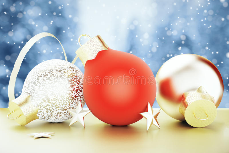 Christmas tree toys - red and gold balls and stars at winter weather background royalty free stock images
