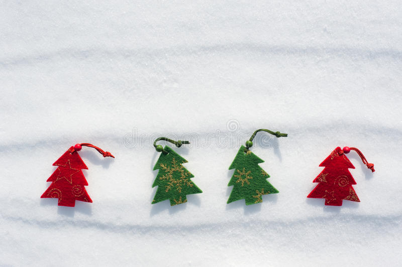 Christmas Tree Toys At Snow Stock Photos