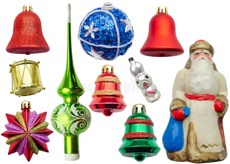 Christmas tree toys on a white isolated background royalty free stock photography