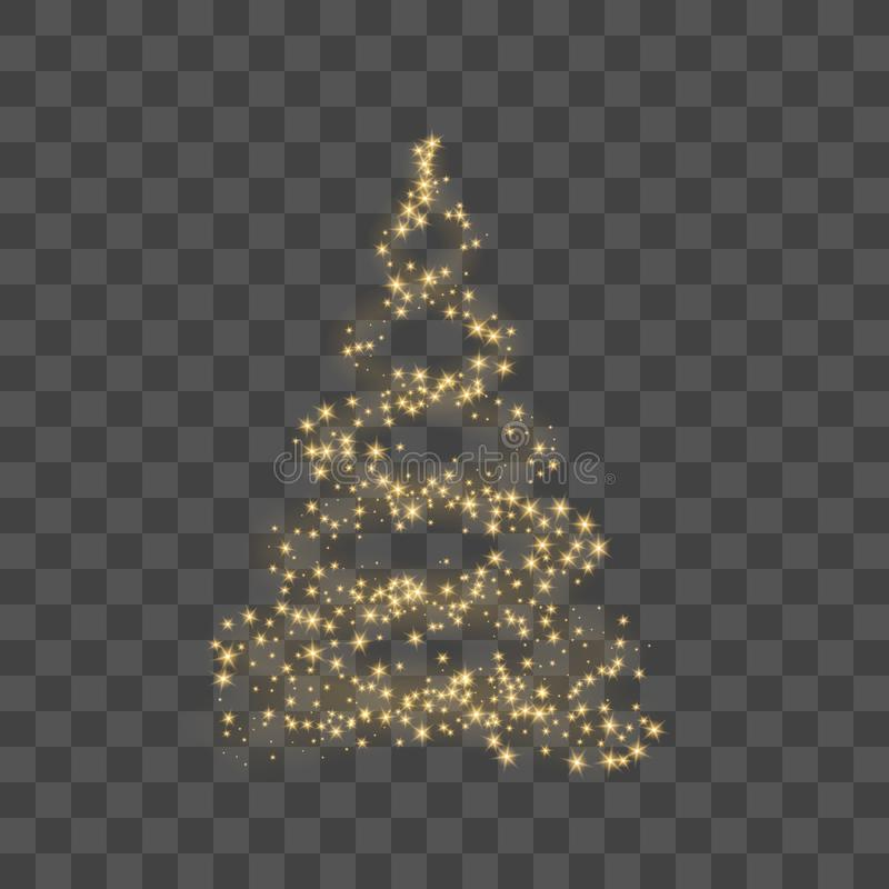 christmas tree on transparent background gold christmas tree as symbol of happy new year merry christmas holiday stock vector illustration of backdrop design 131085453 dreamstime com