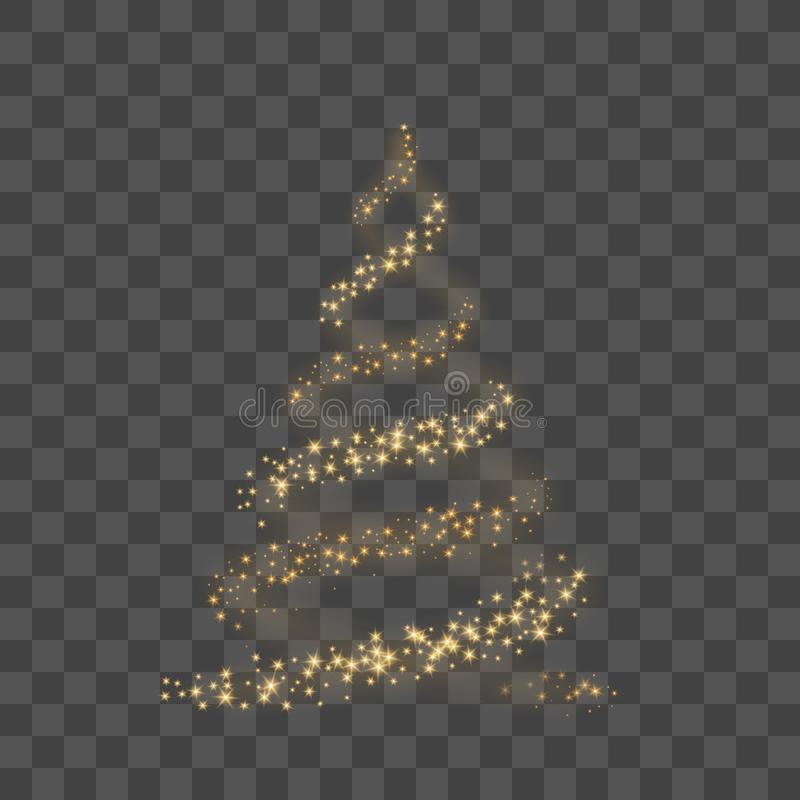 Christmas tree on transparent background. Gold Christmas tree as symbol of Happy New Year, Merry Christmas holiday vector illustration