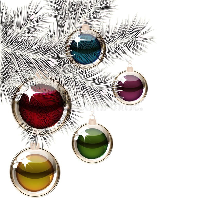 Christmas tree and transparent balls stock images