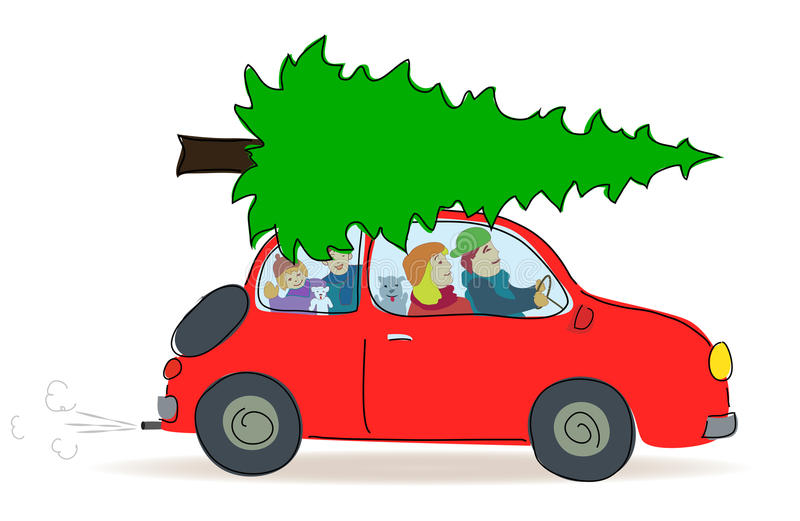 Christmas Tree Transport By Car Royalty Free Stock Image