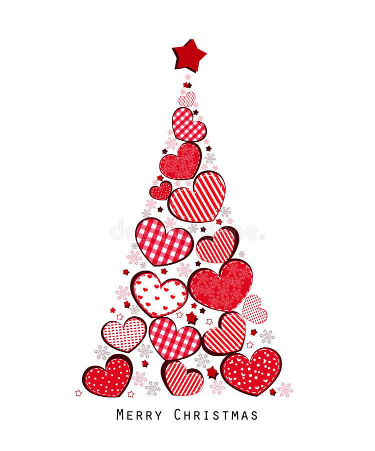 Christmas tree with valentine hearts and snowflakes vector illustration. Christmas tree with valentine hearts and snowflakes vector stock illustration