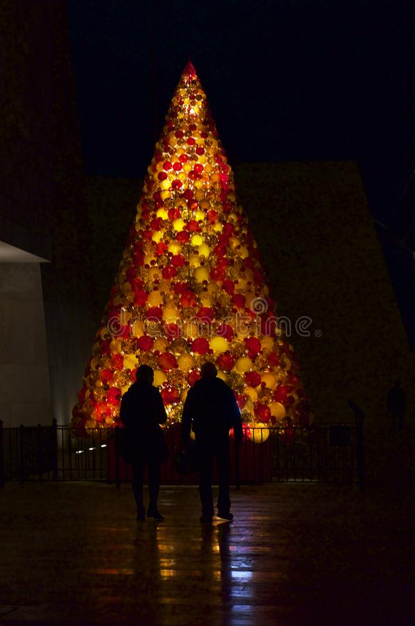 Christmas Tree in Valletta - people Christmas in Valletta, Malta. Holidays background. royalty free stock image