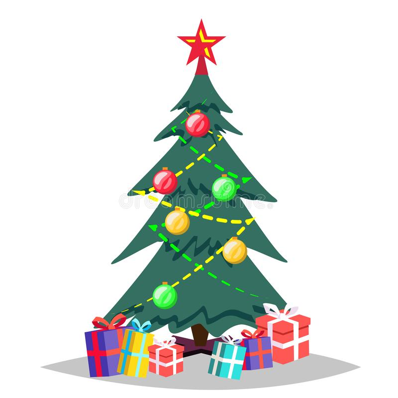 Free Christmas Tree Vector. Cartoon Isolated Winter Illustration Stock Photography - 128422592
