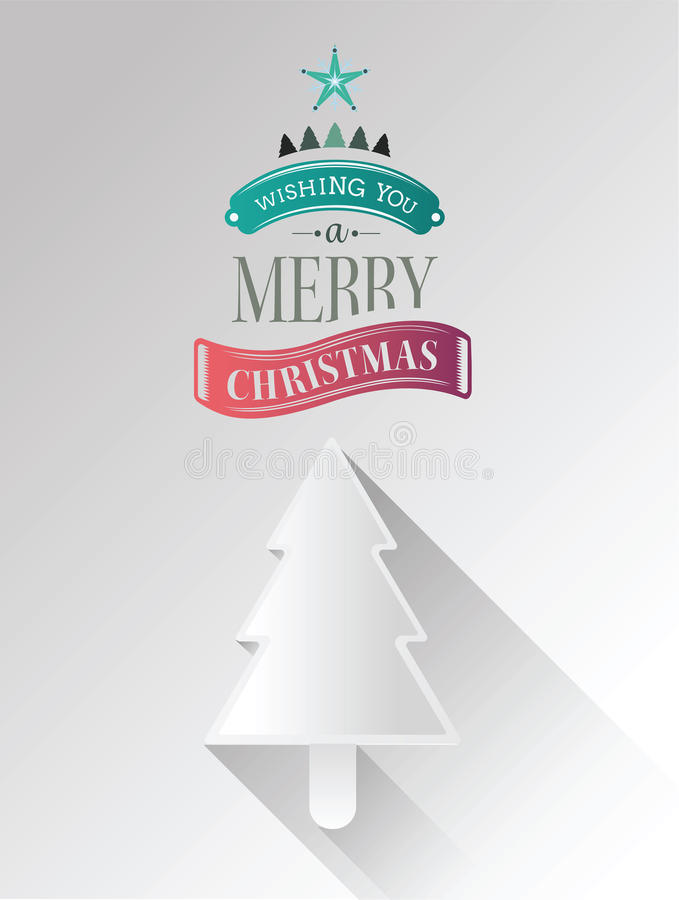 Christmas tree vector with greeting stock illustration