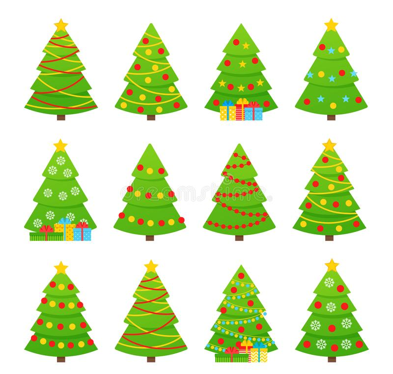 Christmas tree. Vector. Tree icon in flat design royalty free illustration