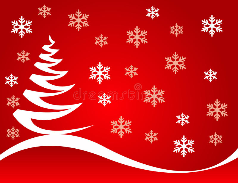 Christmas tree vector illustration. Abstract christmas tree vector illustration with colored background and snowflakes vector illustration