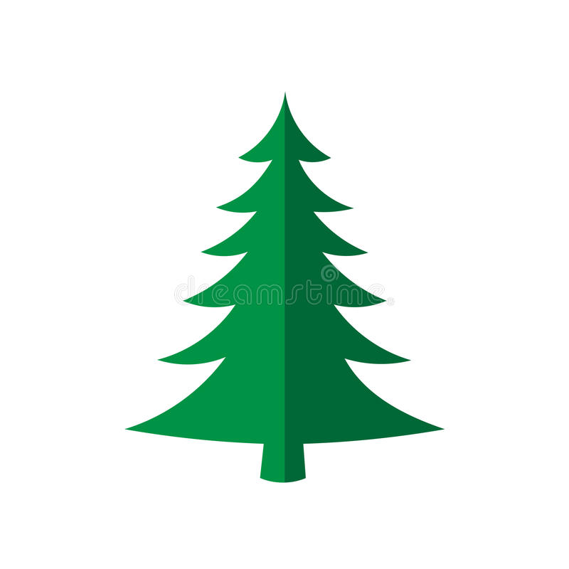 Christmas tree, vector illustration. Green silhouette decoration sign, isolated on white background. Flat design. Symbol of vector illustration