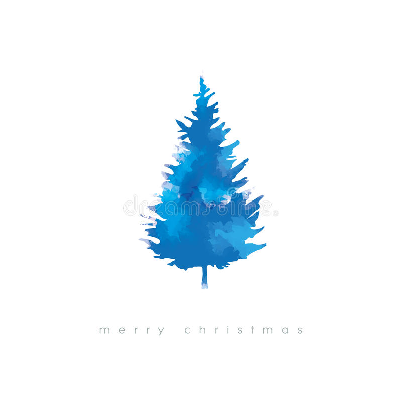 christmas tree vector illustration with watercolor texture cold
