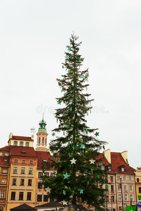 Christmas tree in Warsaw Old Town Market Square, Poland royalty free stock photo