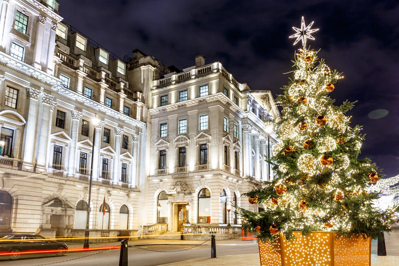 Christmas tree on Waterloo place in 2016, London. England royalty free stock photography