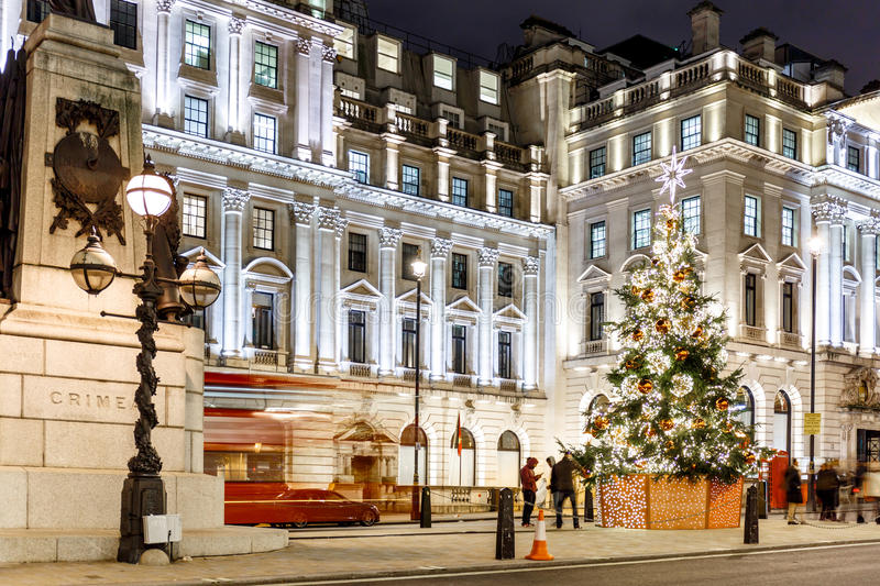 Christmas tree on Waterloo place in 2016, London. England stock photo