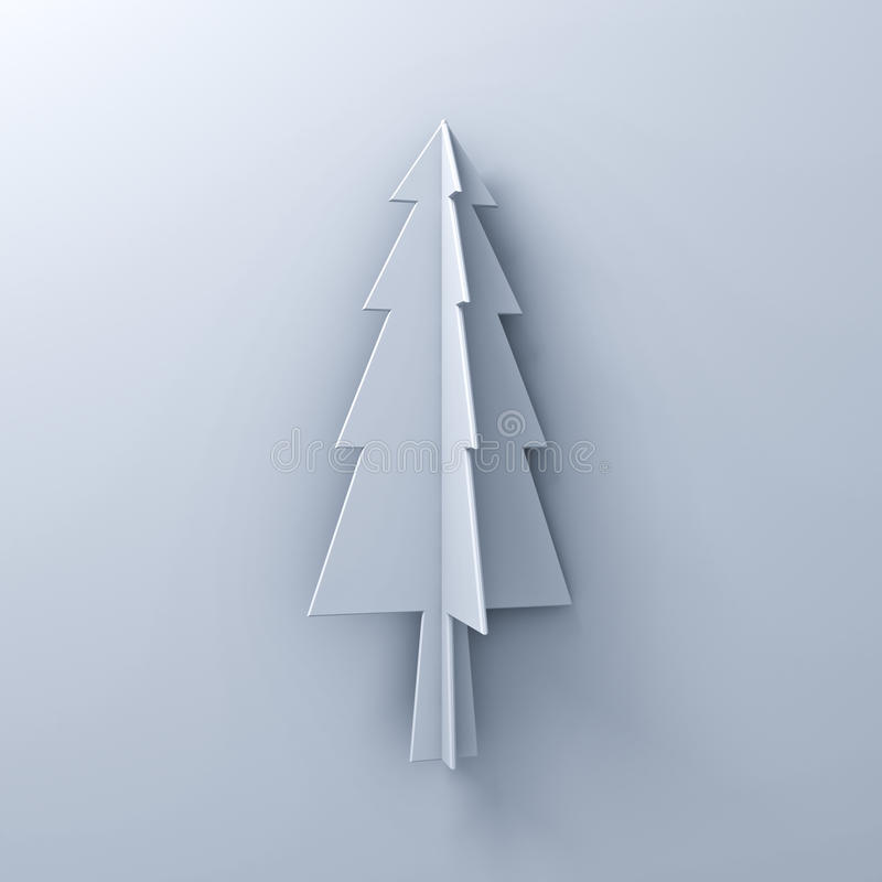 Christmas tree on white background for christmas decoration with shadow. 3D rendering stock illustration