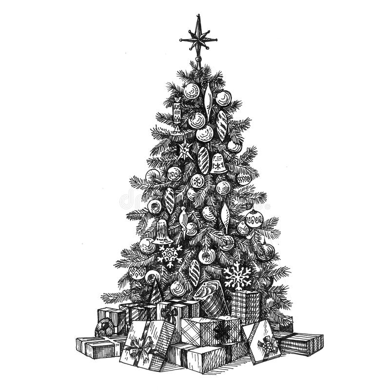 Christmas Tree On A White Background. Sketch Stock Illustration - Illustration Of Decoration ...