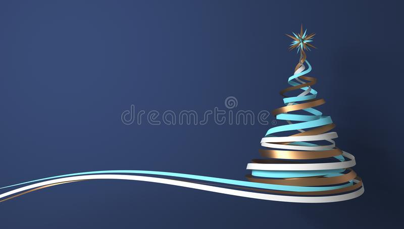 Christmas Tree From White, Cyan And Gold Tapes On Blue Background vector illustration