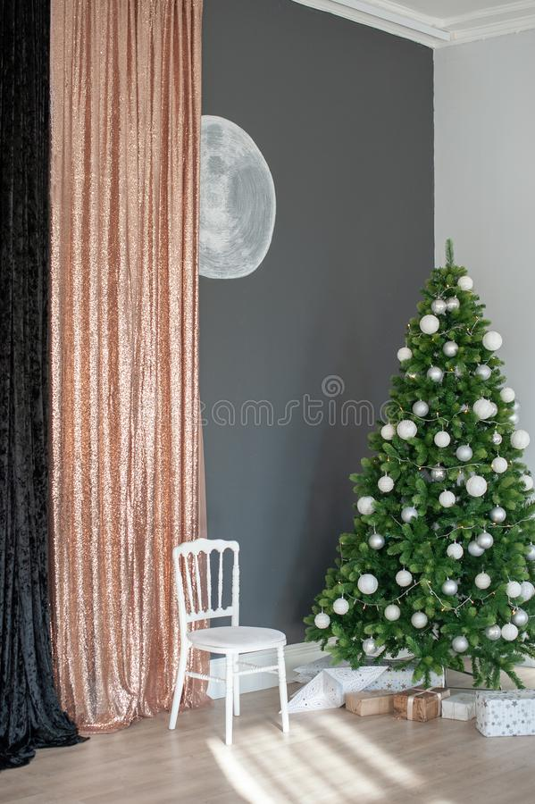 Christmas tree with white decorations stock photos
