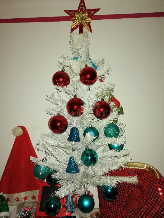 Christmas tree in white,Decorations for New Year royalty free stock images