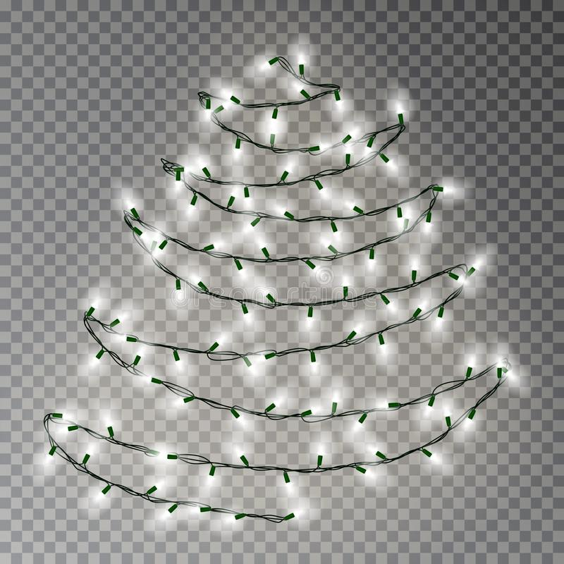 Christmas tree of white lights string. Transparent effect decoration isolated on dark background. Re vector illustration