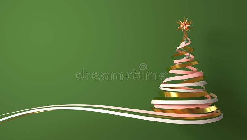 Christmas Tree From White, Pink And Gold Tapes Over Green Background. royalty free illustration