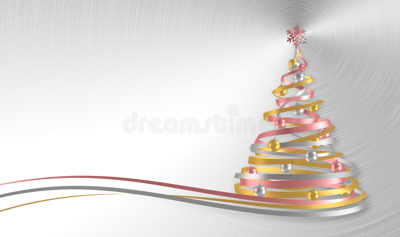 Christmas Tree From White, Pink And Yellow Tapes Over Metal Background vector illustration