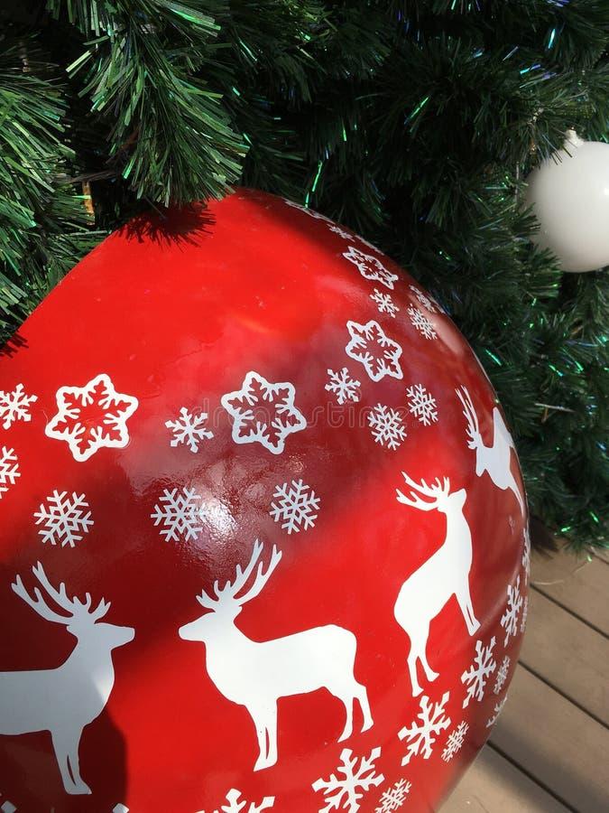 Christmas tree and White Reindeer stock photo