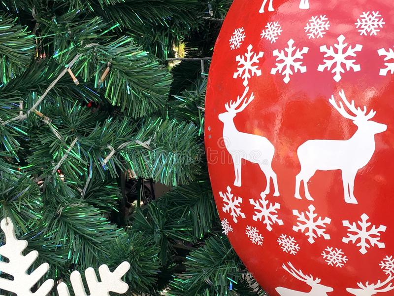 Christmas tree and White Reindeer royalty free stock photography