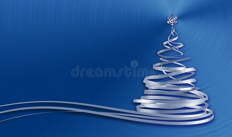 Christmas Tree From White Tapes Over Blue Metal Background vector illustration