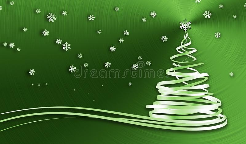 Christmas Tree From White Tapes And Snowflakes Over Green Metal Background vector illustration