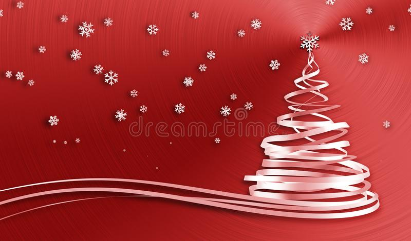 Christmas Tree From White Tapes And Snowflakes Over Red Metal Background stock illustration