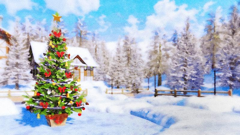 Christmas tree on winter background in watercolor royalty free illustration