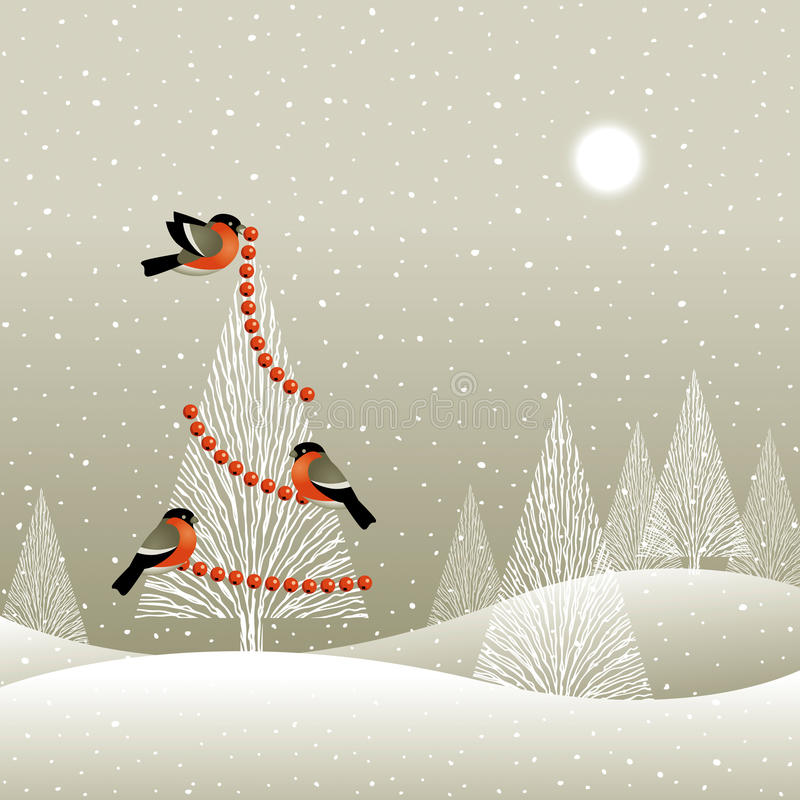 Christmas tree in winter forest vector illustration
