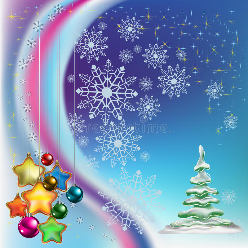 Free Christmas Tree With Colored Stars Royalty Free Stock Photos - 16912288