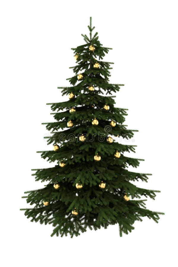 Free Christmas Tree With Gold Balls Isolated On White Stock Images - 12020474