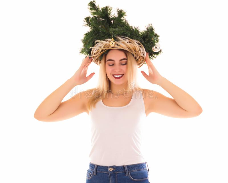 Christmas tree hat, beautiful girl, isolated royalty free stock photography