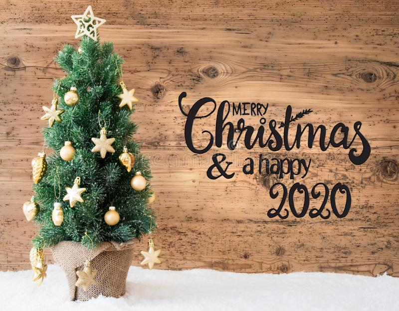 Christmas Tree, Wooden Background, Snow, Merry Christmas And A Happy 2020 stock illustration