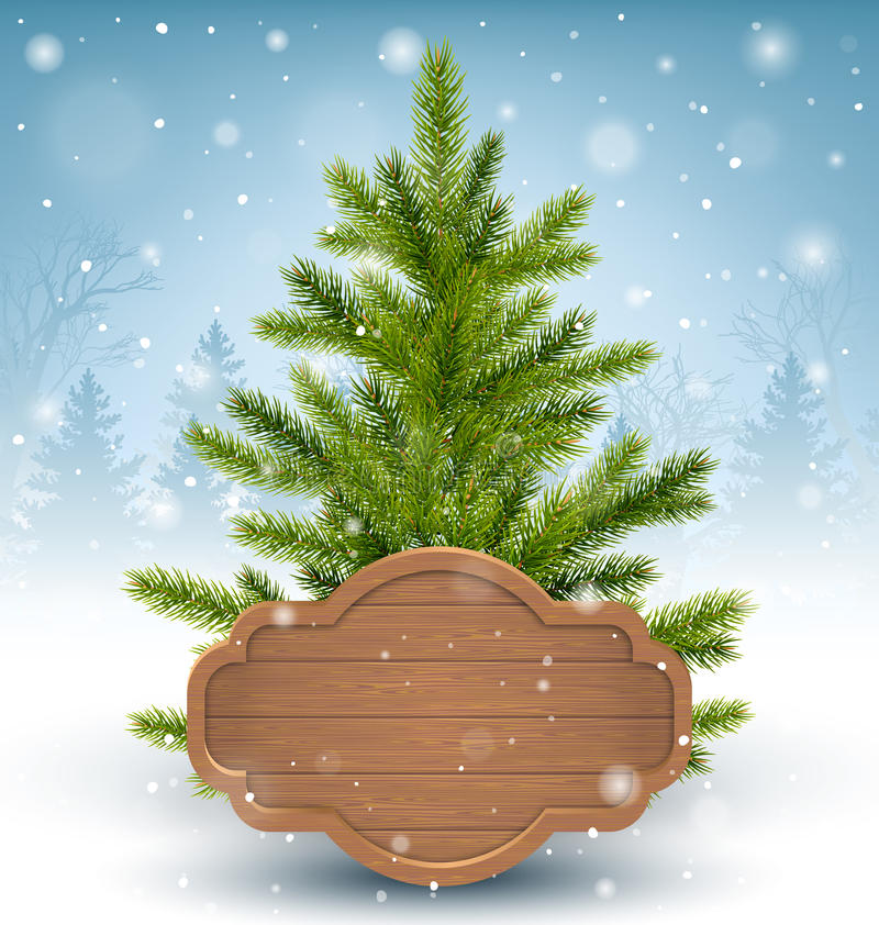 Christmas Tree with Wooden Frame in Snow on Wooden Floor on Blue. Background stock illustration