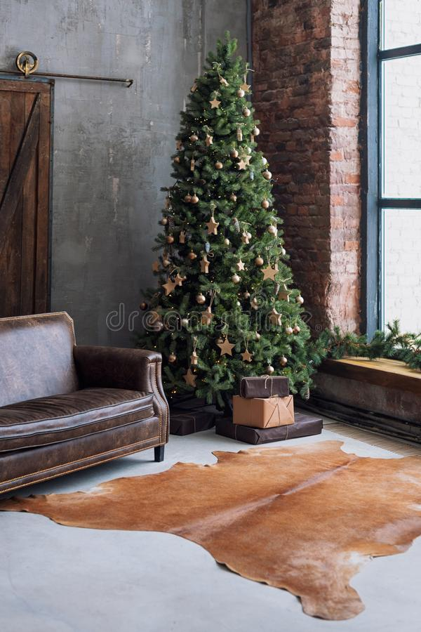 Christmas Tree With Wooden Rustic Decorations And Presents ...