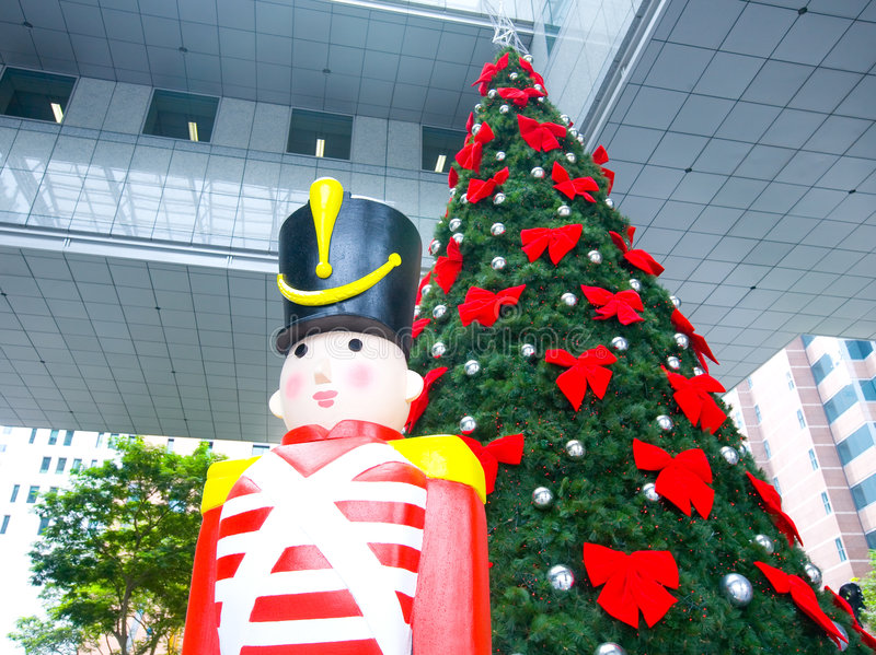Download Christmas Tree And Wooden Soldier Decoration Stock Image - Image: 7626125