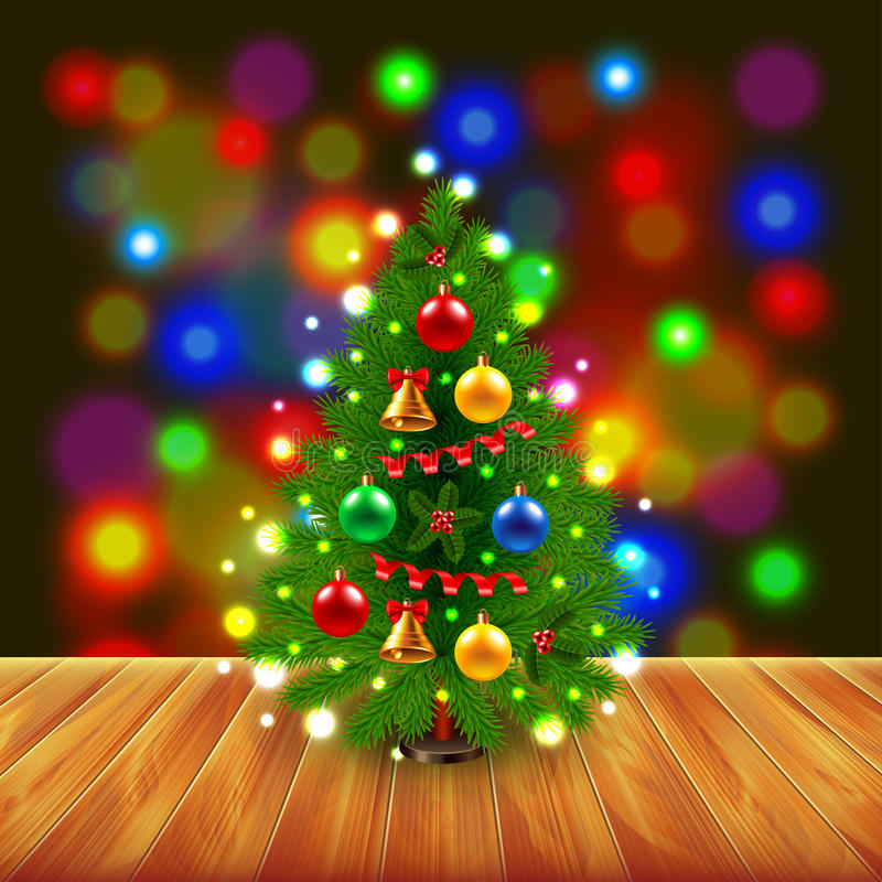 Christmas tree on wooden table. Colorful background realistic vector stock illustration