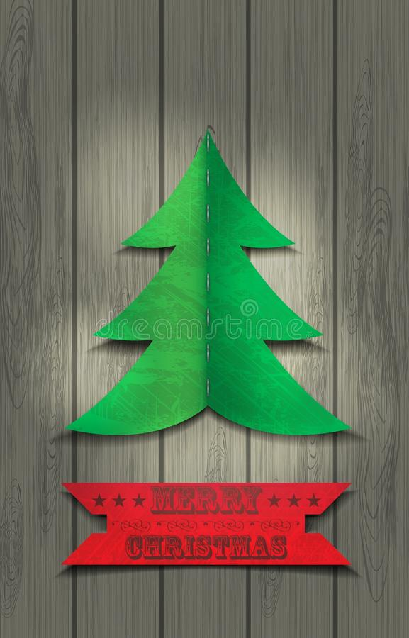 Christmas tree on a wooden texture. Merry Christmas card / christmas tree on a wooden texture royalty free illustration