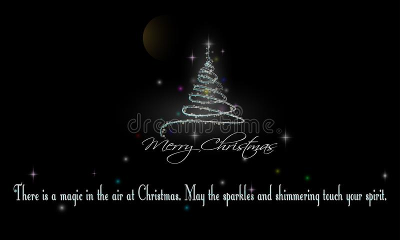 Christmas Tree And Words Of Wisdom On Black Background. Merry Christmas And Words Of Wisdom On Black Background with Christmas trees glow full of stars and vector illustration