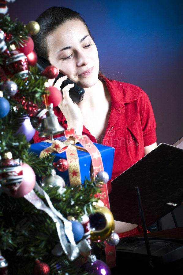 Download Christmas tree at work stock photo. Image of work, decor - 7374508